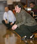 WATERBURY, CT,  02 JANUARY 2006, 010207BZ18- Kennedy head coach Jenn Hansen watches the action against Sacred Heart High School in Waterbury Tuesday.<br /> Jamison C. Bazinet Republican-American