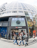 Tissot Swiss watches in New York on Sunday, December 14, 2014. A recent study on conspicuous consumption reported that New Yorkers spend 597 percent more on watches than the rest of the country. (© Richard B. Levine)