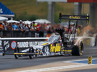 Jun 18, 2016; Bristol, TN, USA; NHRA top fuel driver Leah Pritchett during qualifying for the Thunder Valley Nationals at Bristol Dragway. Mandatory Credit: Mark J. Rebilas-USA TODAY Sports