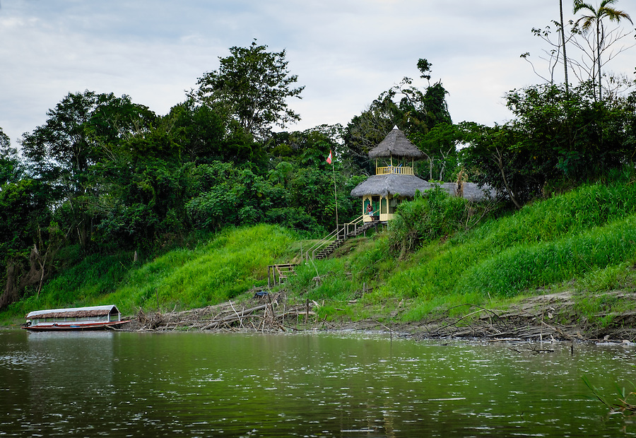 LORETO, PERU - CIRCA OCTOBER 2015:  Lodge Curuhuinsi in Puerto Miguel, in the Yarapa river in the Peruvian Amazon.