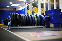 A general view of weights in the Bath Rugby gym. Bath Rugby pre-season training on June 21, 2016 at Farleigh House in Bath, England. Photo by: Patrick Khachfe / Onside Images