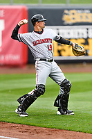 Jeff Arnold (19) of the Sacramento River Cats warms up in the outfield before the game against the Salt Lake Bees in Pacific Coast League action at Smith's Ballpark on April 11, 2017 in Salt Lake City, Utah. The River Cats defeated the Bees 8-7.  (Stephen Smith/Four Seam Images)