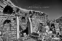 Ephesus ruins view in Turkey in black and white