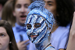 18 February 2017: UNC fan. The University of North Carolina Tar Heels hosted the University of Virginia Cavaliers at the Dean E. Smith Center in Chapel Hill, North Carolina in a 2016-17 Division I Men's Basketball game. UNC won the game 65-41.