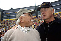 Former Packers Fuzzy Thurston and Donny Anderson on the sidelines during the 2001 home opener game against the Detroit Lions. Part of the Packers' commitment to the fans involves bringing back past Packers for an alumni appreciation day.