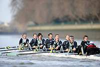 "London; GREAT BRITAIN; Cambridge crew {bake} racing  University Trial Eights for crew selection for 157th Boat Race [April 2011]  raced over the Championship Course Putney to Mortlake  on the River Thames. Wednesday  - 08/12/2010   [Mandatory Credit; ""Photo, Peter Spurrier/Intersport-images].Crew. CUBC. Bake; Middx Station.Bow, Nick EDELMAN, 2. Charlie PITT-FORD, 3. Josh PENDRY, 4. Alex ROSS, 5. Geoff ROTH, 6. Derek RASUSSEN, 7. David NELSON, Stroke. Mike THORP and cox Liz BOX."