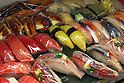 Apr 10, 2010 - Tokyo, Japan - Imitation sushis are displayed at a restaurant supply store located in Kappabashi street in Tokyo on April 10, 2010. Kappabashi-dori, also known just as Kappabashi or Kitchen Town, is almost entirely populated with shops supplying mass-produced crockery, restaurant furniture, ovens and decorations, through to esoteric items such as the plastic display food  (sampuru). Replica foods are also popular as souvenirs for tourists.