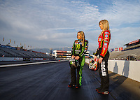Feb 8, 2017; Pomona, CA, USA; NHRA top fuel driver Brittany Force (left) and sister, funny car driver Courtney Force during media day at Auto Club Raceway at Pomona. Mandatory Credit: Mark J. Rebilas-USA TODAY Sports