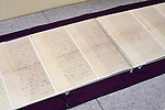Photo shows  Lafcadio Hearn's the last letter, written 7 or 8 hours before his death on 26 Sept. 1904, on display at  the Lafcadio Hearn museum in Matsue, Shimane Prefecture, Japan on 05 Nov. 2012. Photographer: Robert Gilhooly.