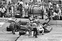 INDIANAPOLIS, IN: Johnny Parsons makes a pit stop in his Wildcat II 1/DGS en route to a fifth place finish in the Indianapolis 500 on May 29, 1977, at the Indianapolis Motor Speedway.