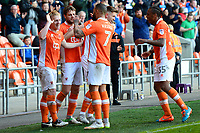 Blackpool's Mark Cullen celebrates scoring his sides third goal with his team-mates<br /> <br /> Photographer Richard Martin-Roberts/CameraSport<br /> <br /> The EFL Sky Bet League Two Play-Off Semi Final First Leg - Blackpool v Luton Town - Sunday May 14th 2017 - Bloomfield Road - Blackpool<br /> <br /> World Copyright &copy; 2017 CameraSport. All rights reserved. 43 Linden Ave. Countesthorpe. Leicester. England. LE8 5PG - Tel: +44 (0) 116 277 4147 - admin@camerasport.com - www.camerasport.com