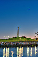 Long Beach, CA, Skyline, Dusk, Night, Shoreline Marina, Rainbow Harbor, Parkers' Lighthouse,