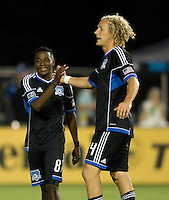 Steven Lenhart of Earthquakes slaps hands with Marvin Chavez after making big play during the second half of the game against Chivas USA at Buck Shaw Stadium in Santa Clara, California on September 2nd, 2012.   San Jose Earthquakes defeated Chivas USA, 4-0.