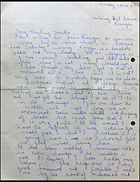 BNPS.co.uk (01202 558833)<br /> Pic: Gorringes/BNPS<br /> <br /> ****must use full byline****<br /> <br /> Letters from Reggie Kray to Frankie.<br /> A diary kept by the tragic wife of Reggie Kray describing her hellish life with the gangster including having to share a bed with a gun and a flick-knife has emerged.<br /> <br /> Long-suffering Frances Kray wrote of the constant abuse and drunken temper bouts she endured at the hands of the East End villain.<br /> <br /> Describing how Reggie kept a cache of deadly weapons in their bedroom, she said: &quot;(He) came back night time. By the side of bed gun, sword, knife, chopper, flick-knife.<br /> <br /> &quot;He used to sleep with flick-knife under his pillow.&quot;<br /> <br /> The diary along with letters and photographs are being auctioned tomorrow (Weds) at Gorringes, East Sussex.