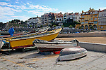 Europe, Portugal, Cascais. Fishing boats resting ashore at Cascais on the Estoril coast.