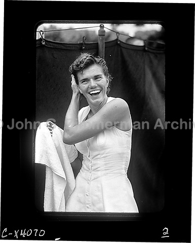 American tennis player Shirley Fry at U.S. National Championship at Forest Hills, 1956. Fry won the women's singles. Photograph by John G. Zimmerman.