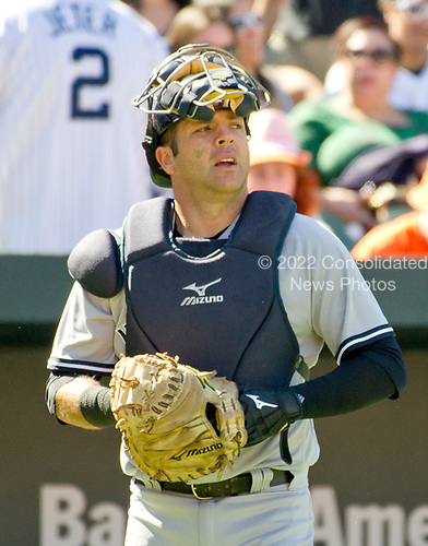 New York Yankees catcher Austin Romine (27) looks towards the pitcher's mound as he comes out for the bottom of the sixth inning of the game against the Baltimore Orioles at Oriole Park at Camden Yards in Baltimore, MD on Sunday, April 9, 2017.  The Yankees won the game 7 - 3. <br /> Credit: Ron Sachs / CNP<br /> (RESTRICTION: NO New York or New Jersey Newspapers or newspapers within a 75 mile radius of New York City)