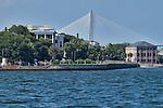 Historic Charleston Battery Row in Downtown Charleston South Carolina White Point Gardens Arthur Ravenel Jr Bridge