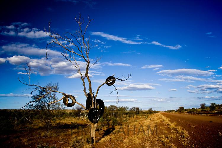 Tyres hang from tree by roadside Mereenie Loop Road, Red Centre, Australia