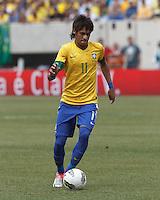 Brazil forward Neymar (11) brings the ball forward. In an international friendly (Clash of Titans), Argentina defeated Brazil, 4-3, at MetLife Stadium on June 9, 2012.