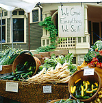 vegetables for sale at farmers' market in Portland, Oregon.  We Grow Everything We Sell