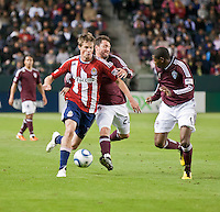 CARSON, CA – MARCH 26:  Chivas USA forward Justin Braun (17) and Colorado midfielder Jamie Smith (20) during the match between Chivas USA and Colorado Rapids at the Home Depot Center, March 26, 2011 in Carson, California. Final score Chivas USA 0, Colorado Rapids 1.