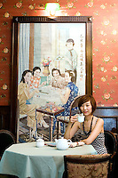 Liu Yi enjoys tea at '1931' restaurant, in Shanghai, China, on September 15, 2009. Photo by Lucas Schifres/Pictobank