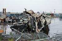 Landscape view of a damaged truck at Sendai port following the 311 Tohoku Tsunami in Sendai, Japan  © LAN