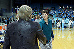 22 January 2017: Notre Dame head coach Muffet McGraw (right) shakes hands with UNC head coach Sylvia Hatchell (left). The University of North Carolina Tar Heels hosted the University of Notre Dame Fighting Irish at Carmichael Arena in Chapel Hill, North Carolina in a 2016-17 NCAA Division I Women's Basketball game. Notre Dame won the game 77-55