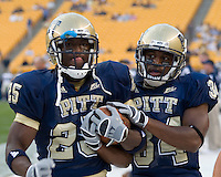 22 September 2007: Pitt running backs LeSean McCoy (25) and LaRod Stephens-Howling (34)..The Connecticut Huskies defeated the Pitt Panthers 34-14 on September 22, 2007 at Heinz Field in Pittsburgh, Pennsylvania.