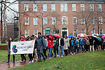 Students, faculty members, and Athens residents march in front of Cutler Hall for the Bobcat Unity Walk on Tuesday, Feb. 28, 2017. ©Ohio University / Photo by Kaitlin Owens