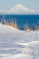 Mount Redoubt Volcono of the Aleutian mountain range across the Cook Inlet from the Kenai Peninsula