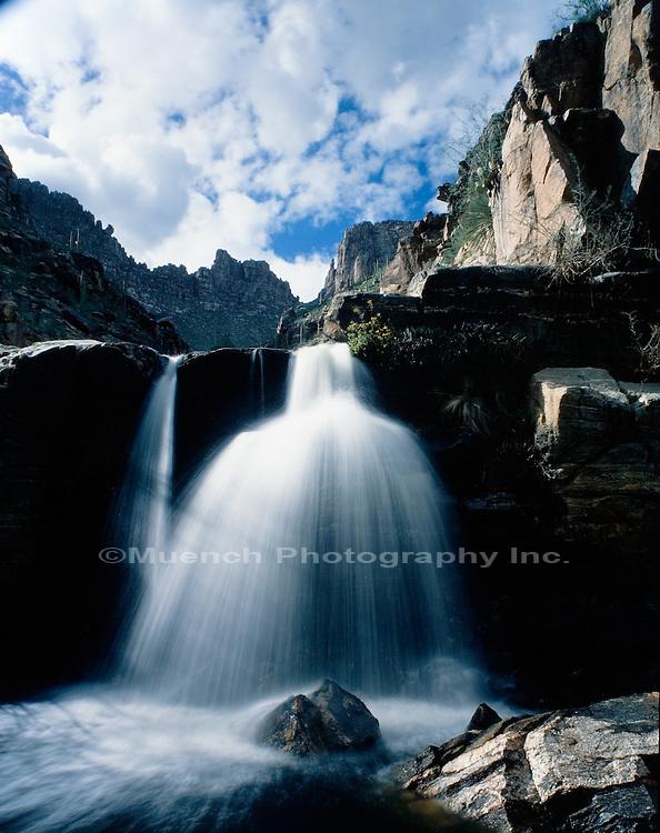 """Lower cascade of Seven Falls, Sabino-Bear Canyon   ARIZONA"""