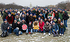 Jan. 25, 2013; Notre Dame students gather for a photo before leading the 2013 March for Life in Washington, D.C. Photo by Barbara Johnston/University of Notre Dame