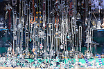 Silver jewelry in a shop window in the medina of Chefchaouen, Morocco.