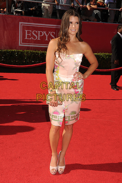 Danica Patrick.2012 ESPY Awards - arrivals held at Nokia Theatre L.A. Live,  Los Angeles, California, USA..11th July 2012.full length dress hand on hip clutch bag pink strapless .CAP/ADM/BP.©Byron Purvis/AdMedia/Capital Pictures.