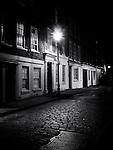 Cobbled street at night, shoreditch, london, uk