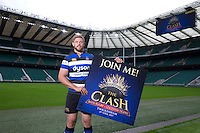 """Dave Attwood of Bath Rugby. Bath Rugby Photocall for """"The Clash"""" on September 22, 2016 at Twickenham Stadium in London, England. Photo by: Andrew Fosker / Onside Images"""