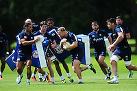 Ross Batty of Bath Rugby goes on the attack. Bath Rugby pre-season training session on August 9, 2016 at Farleigh House in Bath, England. Photo by: Patrick Khachfe / Onside Images