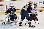 Steven Summerhays (ND - 1), Stephen Johns (ND - 28), Patrick Brown (BC - 23) - The visiting University of Notre Dame Fighting Irish defeated the Boston College Eagles 7-2 on Friday, March 14, 2014, in the first game of their Hockey East quarterfinals matchup at Kelley Rink in Conte Forum in Chestnut Hill, Massachusetts.