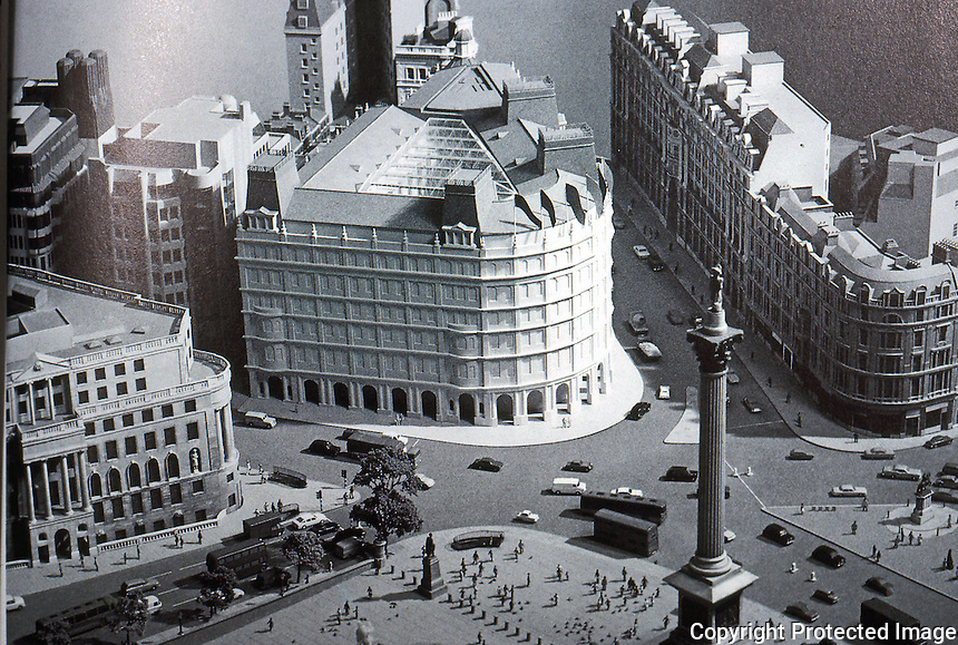 """London: Trafalgar Square Grand Buildings--Model. Sidell Gibson Partnership's winning entry. """"Not wholly unexpected in today's traditional climate. ARCH. DIG. 56--4-86, P.27."""