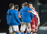 St Johnstone v Rangers&hellip;28.12.16     McDiarmid Park    SPFL<br />Former saint Michael O&rsquo;Halloran gets a hug from David Wotherspoon at full time<br />Picture by Graeme Hart.<br />Copyright Perthshire Picture Agency<br />Tel: 01738 623350  Mobile: 07990 594431