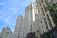 Building in Moscow - USSR architecture of Stalin style skyscraper