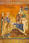 Byzantine mosaic of Tabitha being raised from the dead by Saint Peter. Tabitha is adorned with the garments she had woven for some widows and had given to them as charity. The Palatine Chapel, Norman Palace, Sicily travel photos &amp; pictures available as stock photos, pictures &amp; images &amp; also to download as photo art prints.