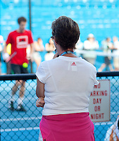 Melbourne Park Australian Open Tennis Day 9 29/01/2011..Judy Murray watching Andy Murray practicing at Melbourne Park in advance of the Men's singles final...Photo: Mike Frey Fotosports International.
