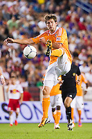 Bobby Boswell (32) of the Houston Dynamo. The New York Red Bulls defeated the Houston Dynamo 2-0 during a Major League Soccer (MLS) match at Red Bull Arena in Harrison, NJ, on August 10, 2012.