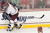 Patrick Wey (BC - 6), Trevor van Riemsdyk (UNH - 6) - The Boston College Eagles defeated the visiting University of New Hampshire Wildcats 5-2 on Friday, January 11, 2013, at Kelley Rink in Conte Forum in Chestnut Hill, Massachusetts.