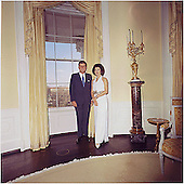 Portrait Photograph of U.S. President John F.  Kennedy and First Lady Jacqueline Bouvier Kennedy in the Yellow Oval Room at the White House on March 28, 1963..Mandatory Credit: Cecil Stoughton - The White House via CNP