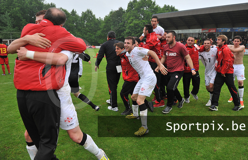 Georgia U19 - Belgium U19 : The Georgian team is celebrating their win over Belgium and their first place in group 6<br /> foto DAVID CATRY / Nikonpro.be