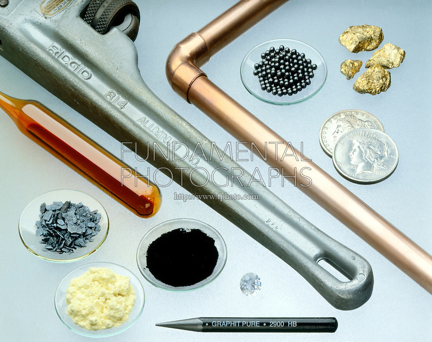 ELEMENTAL METALS AND NONMETALS<br /> S, I, Br, C, Al, Cu, Ag, Pb, Au<br /> From bottom left: Sublimed sulfur, iodine crystals, bromine, charcoal powder, diamond, graphite pencil Aluminum wrench; Copper pipe; Silver dollars; Lead shot; Gold nuggets